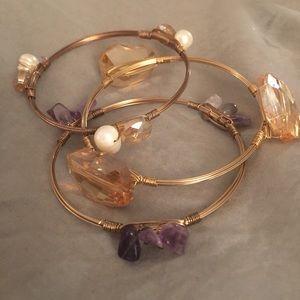 Rose gold and stone bangle set